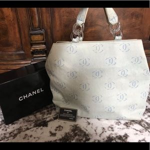 Authentic CHANEL Rare denim logo large tote bag
